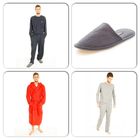 Armani Pyjama Set, Armani Slippers, Ralph Lauren Robe, Hugo Boss Pyjama Set