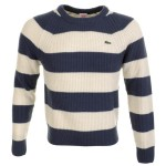 Lacoste Live Knitted Waffle Jumper Ouessant Blue
