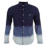 Lacoste LIVE Long Sleeve Denim Shirt Dip Dye Wash